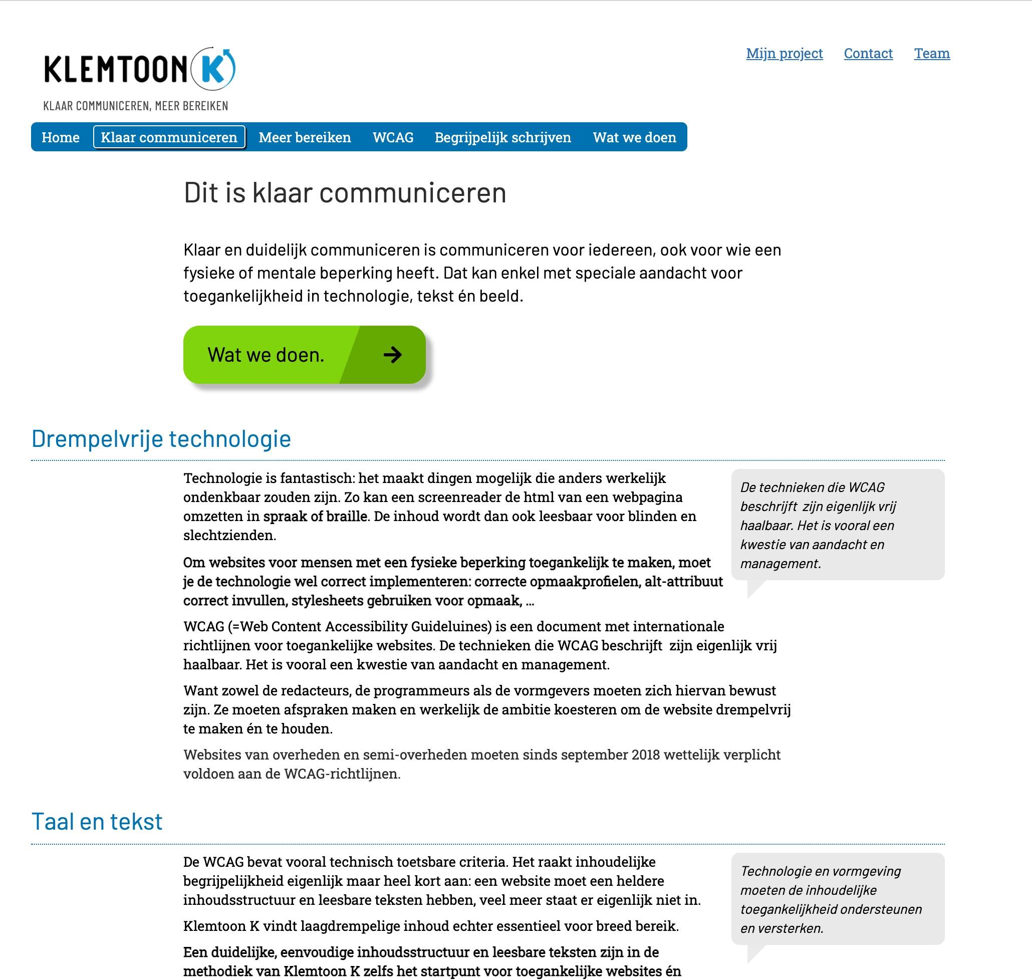 Screenshot van de website van Klemtoon K